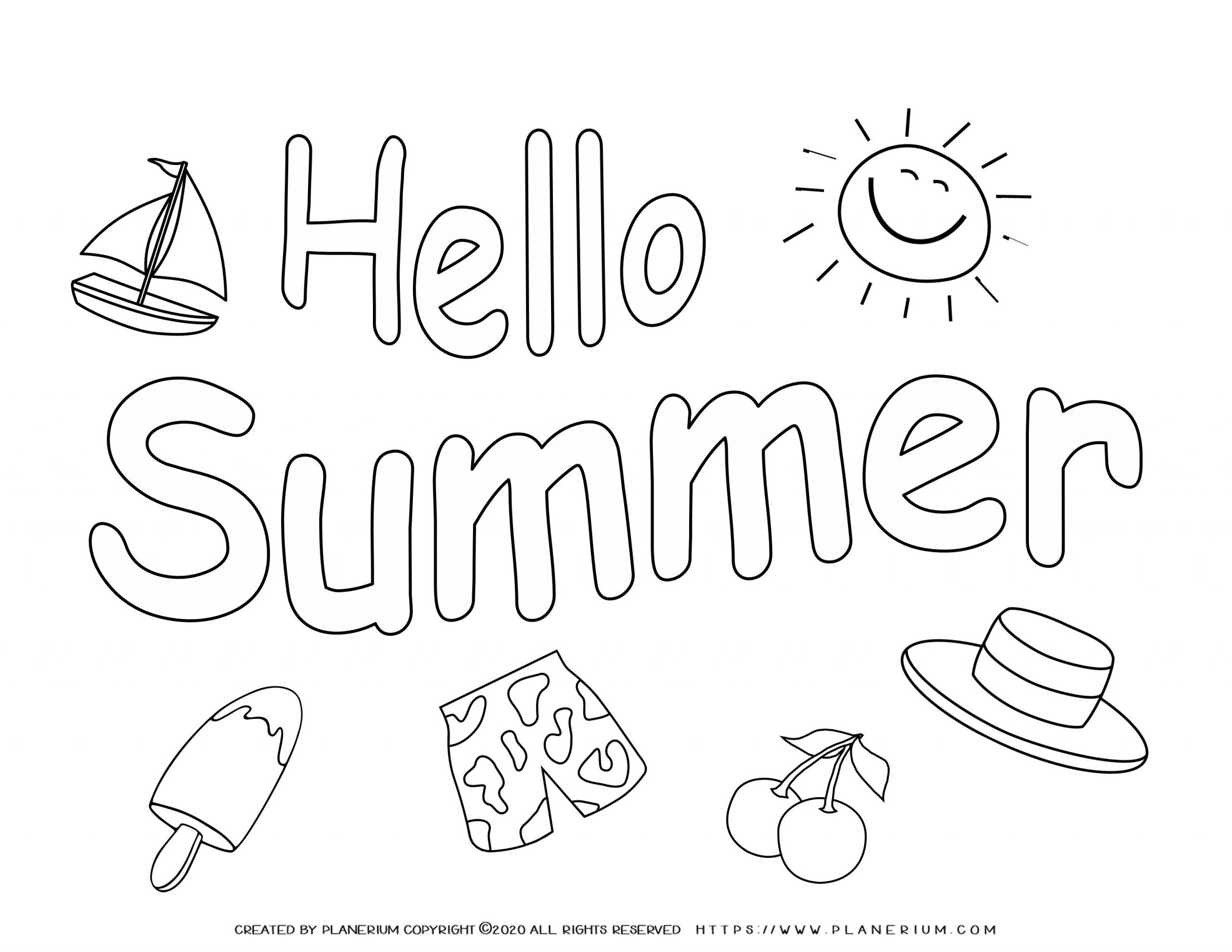 Summer Coloring Page Hello Summer Planerium