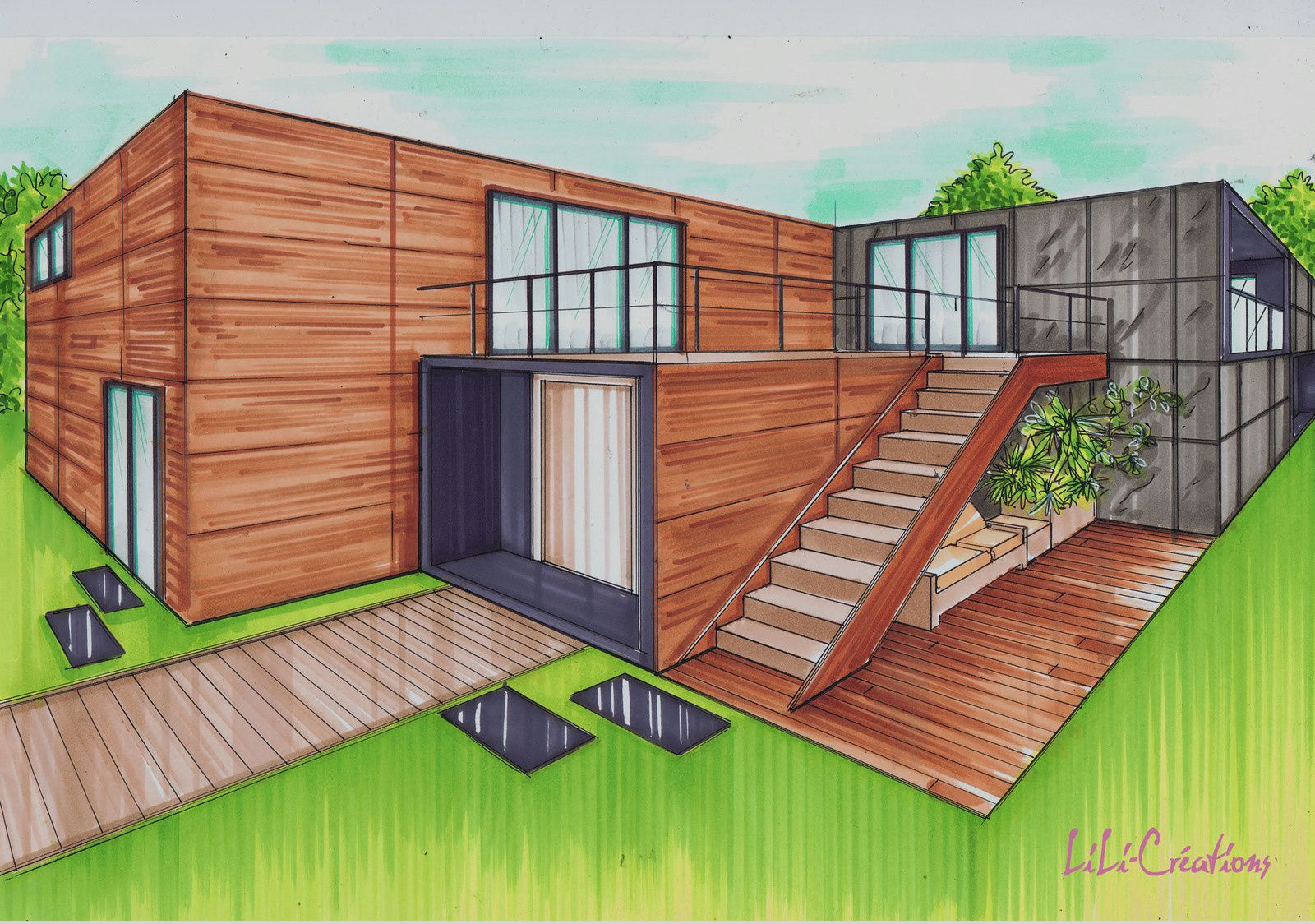 Maison container 175m en 2019 plan container house design shipping container homes et - Construire une maison en container ...