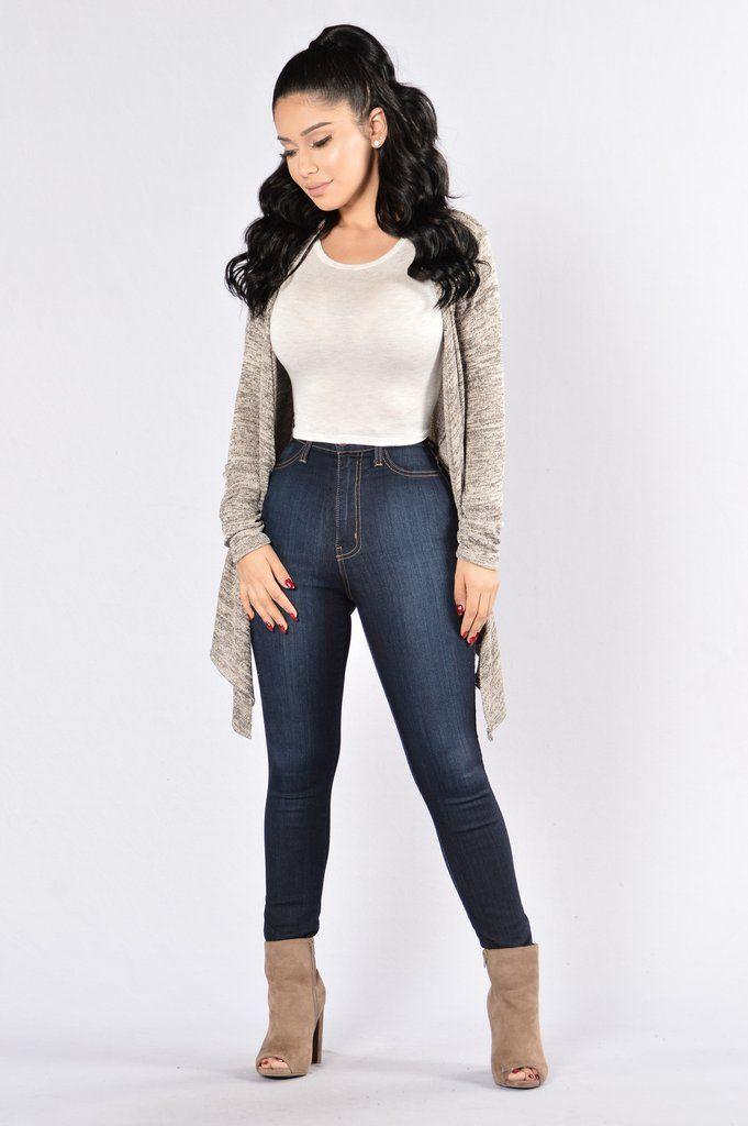 - Available in Black, Grey and Khaki - Open Draped Front - Long Sleeve - Asymmetrical Hem - 96% Polyester, 4% Spandex