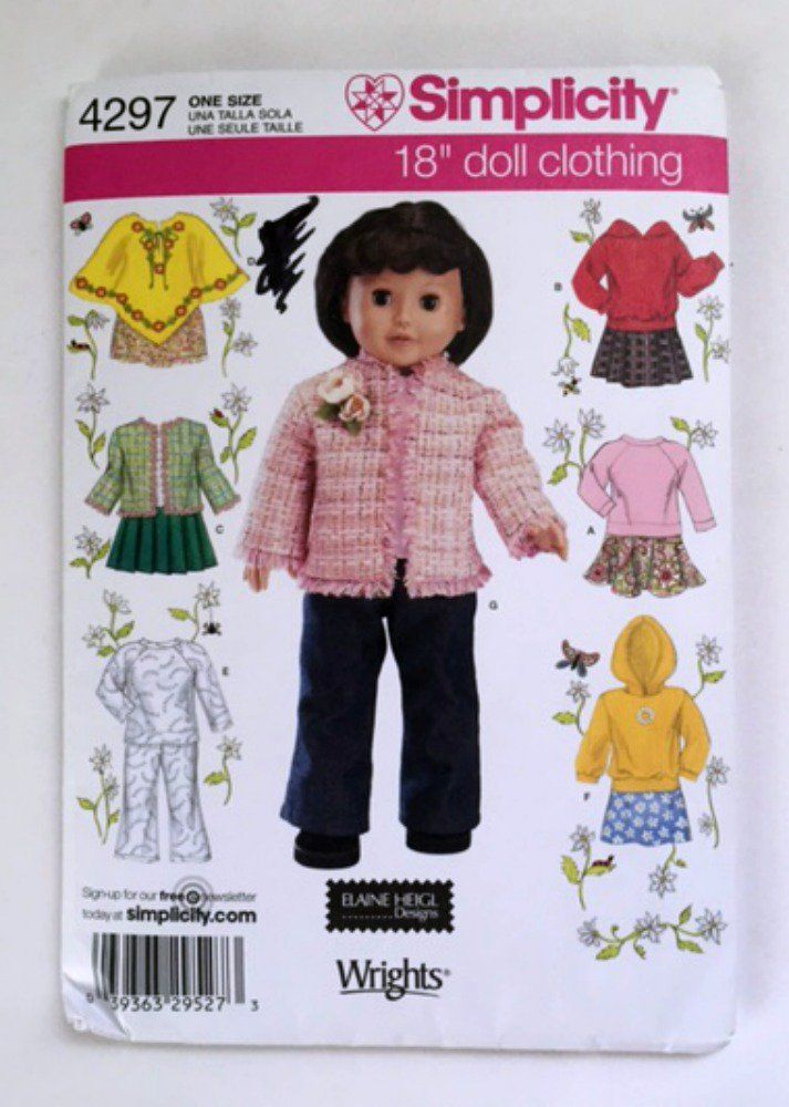 Simplicity 4297 Sewing Pattern Doll Clothing Fit 18 inch Dolls Clothes New Uncut