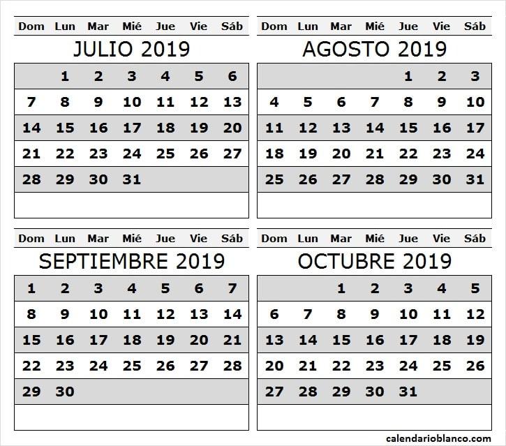 Calendario 2019 Julio Agosto Y Septiembre.Calendario Meses Julio Agosto Septiembre Octubre 2019