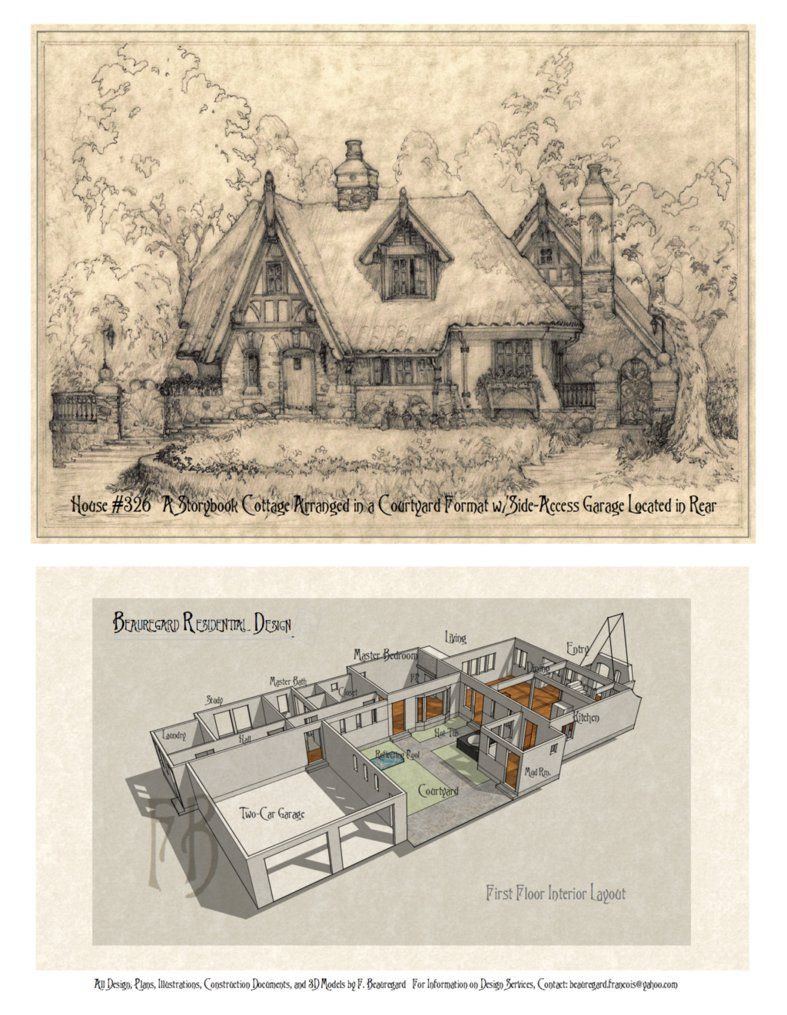 Latest Version Of House Plan 326 A Storybook Cottage Perspective Sketch In Pencil Hand Drawn Of Storybook Cottage Storybook House Plan Cottage House Plans