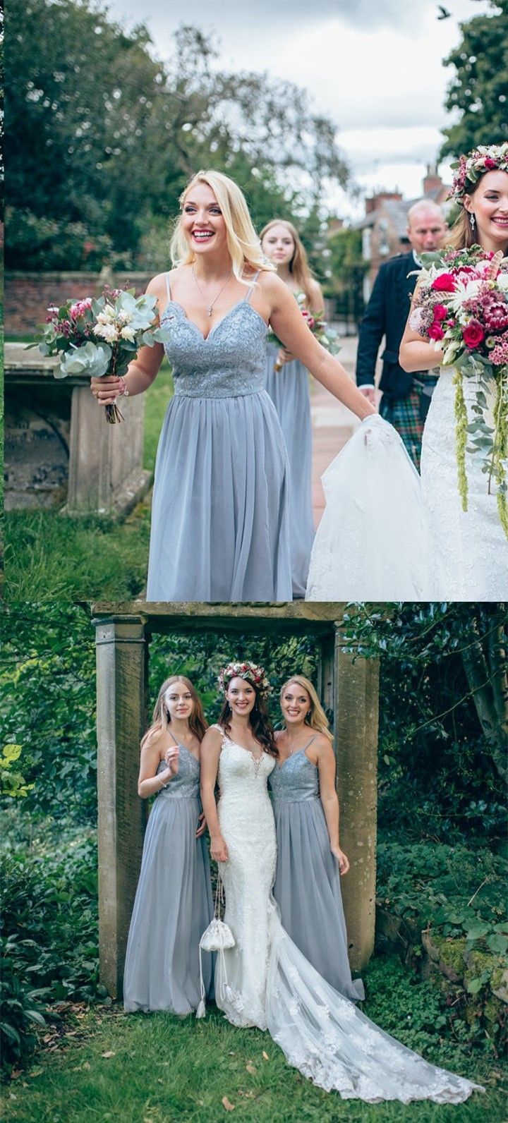 Dusty blue wedding dress  ALine Spaghetti Straps Grey Bridesmaid Dress with Beading Lace