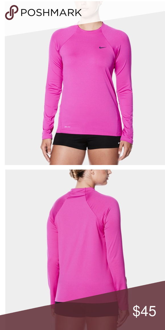77d16b1f Nike dri fit swim shirt hydroguard Sz XL pink The Women's Nike Swim Solid  Long Sleeve