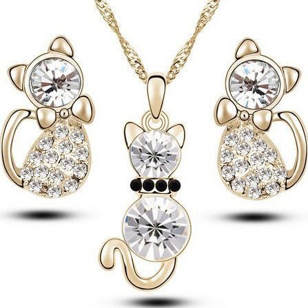 Cute Little Cat Jewelry Set