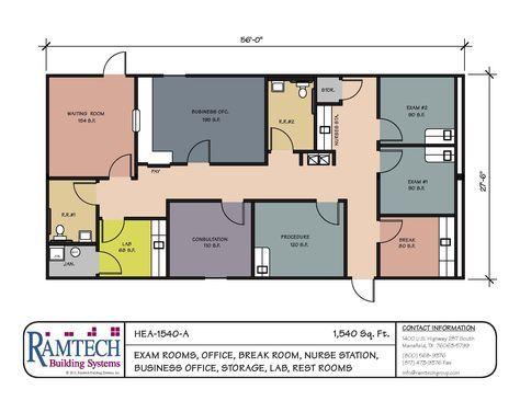Ramtech Medical Clinic 1540sf Office Floor Plan Medical Office