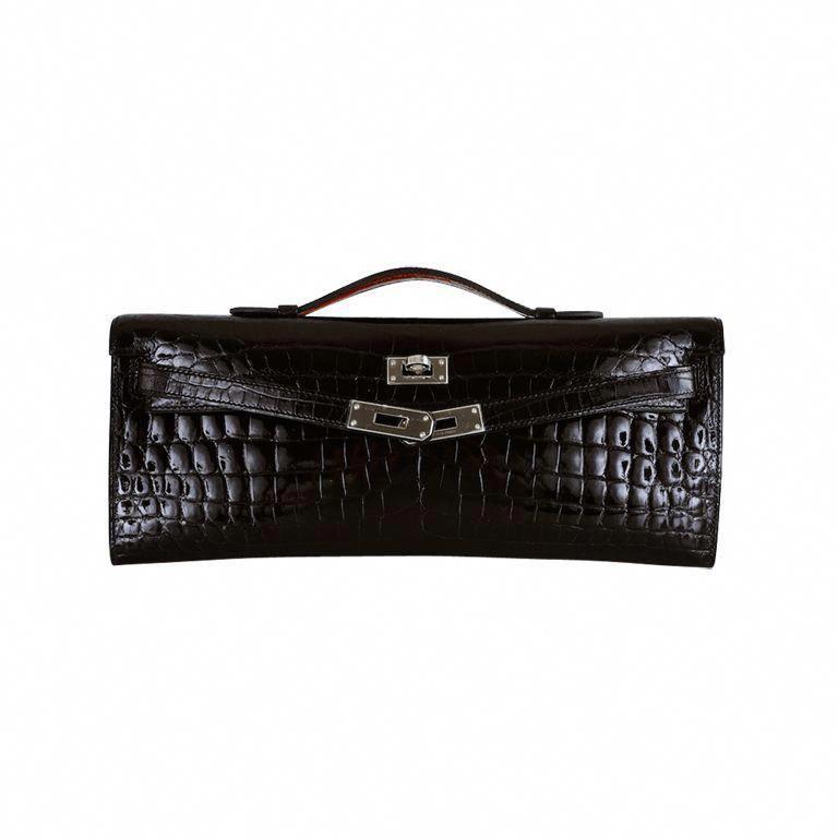 HERMES CROCODILE BAG KELLY CUT CLUTCH POCHETTE BLACK PALL HW  Hermeshandbags 4ca79d2492096