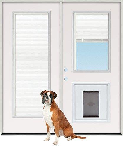 Discount Miniblind Full/Half Lite Fiberglass Patio Prehung Double Door Unit  With Pet Door Insert