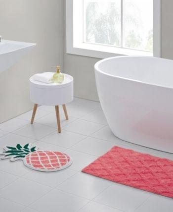 Pineapple 2 Pc Bath Rug Set Pink Bath Rugs Sets Cotton Bath