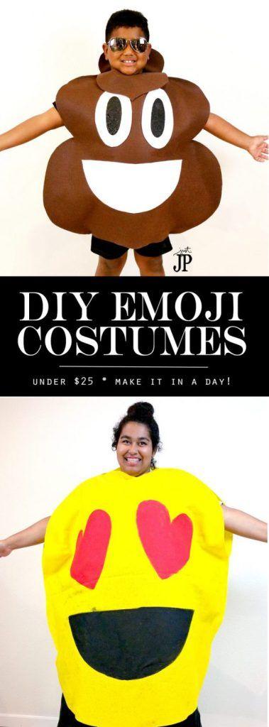 TWO No Sew DIY Emoji Costumes for Under $25! #JPHalloween Emoji