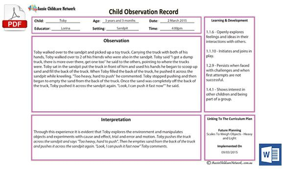 Anecdotal Observation Template Education