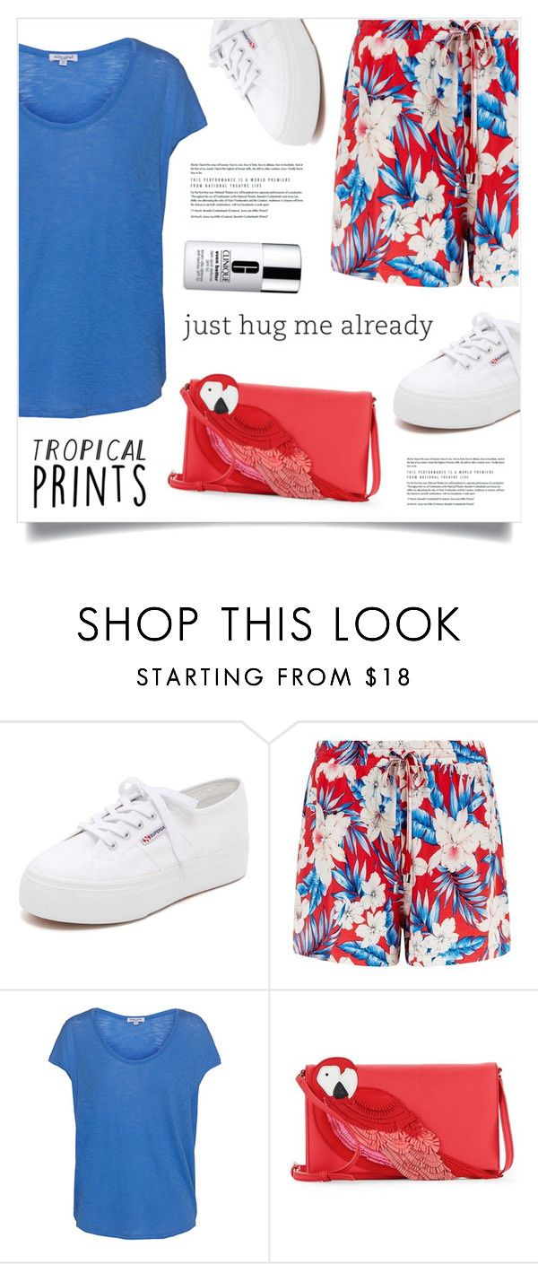 """""""Just"""" by marina-volaric ❤ liked on Polyvore featuring Superga, Splendid, Kate Spade, Clinique, tropicalprints and hottropics"""