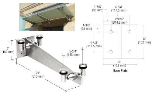Crl Polished Stainless 24 Universal Wall Mounted Glass Awning Bracket By Cr Laurence By C R Laurence 693 80 Us Glass Shelf Brackets Shelf Lighting Bracket