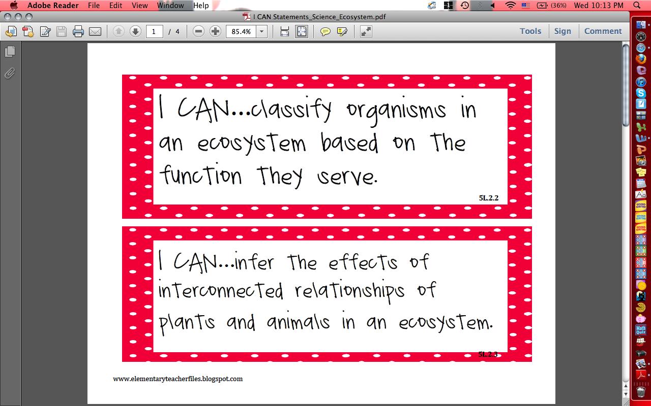 Science Ecosystem I Can Statement Freebie