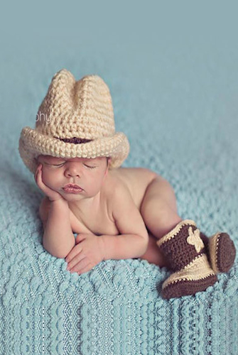 Cowboy crochet baby western hat and boots newborn prop ccacby