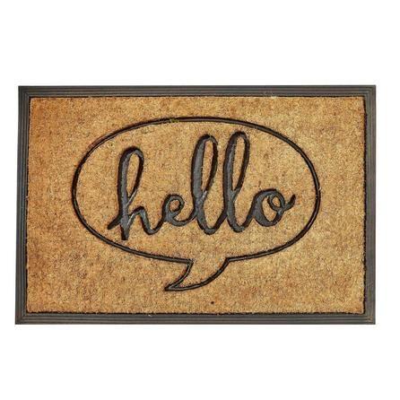 Dunelm Hello Patterned Brown Coir Door Mat (40cm X 60cm)