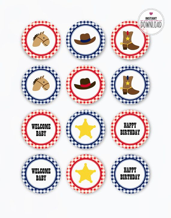 Cowboy Cupcake Toppers Party Circles red blue Vintage Cowboy Birthday Party Baby Shower Printables Cowboy Horse Stickers