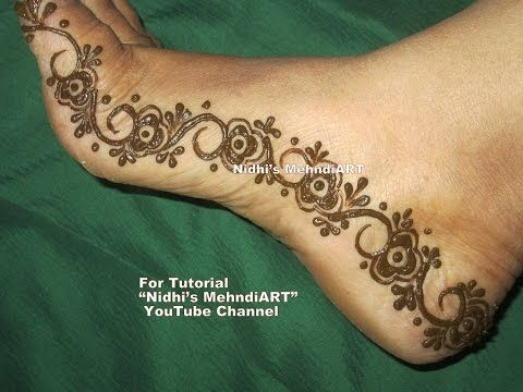 Side Feet Mehndi Designs : Diy floral strip henna mehndi border for side feet festival