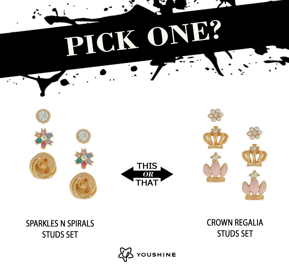 Pick One !!  http://www.youshine.in/product/crown-regalia-studs-set/4145.html? OR  http://www.youshine.in/product/sparkles-n-spirals-studs-set/4147.html?  #studs #earrings #jewelry #fashion #trends #love
