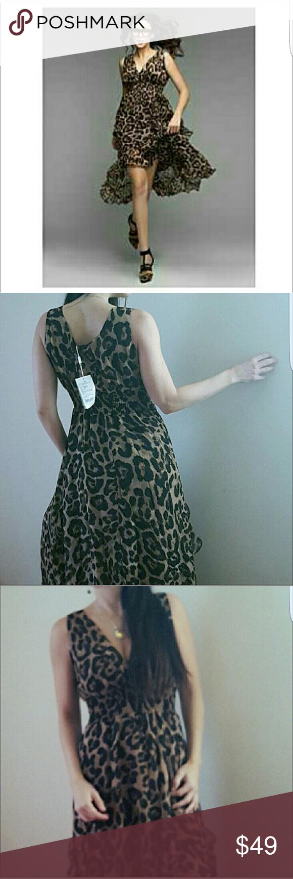 Maxi dress Women's Sexy Leopard Print Deep-V Neck Sleeveless Asymmetrical Maxi Dress boutique  Dresses Maxi