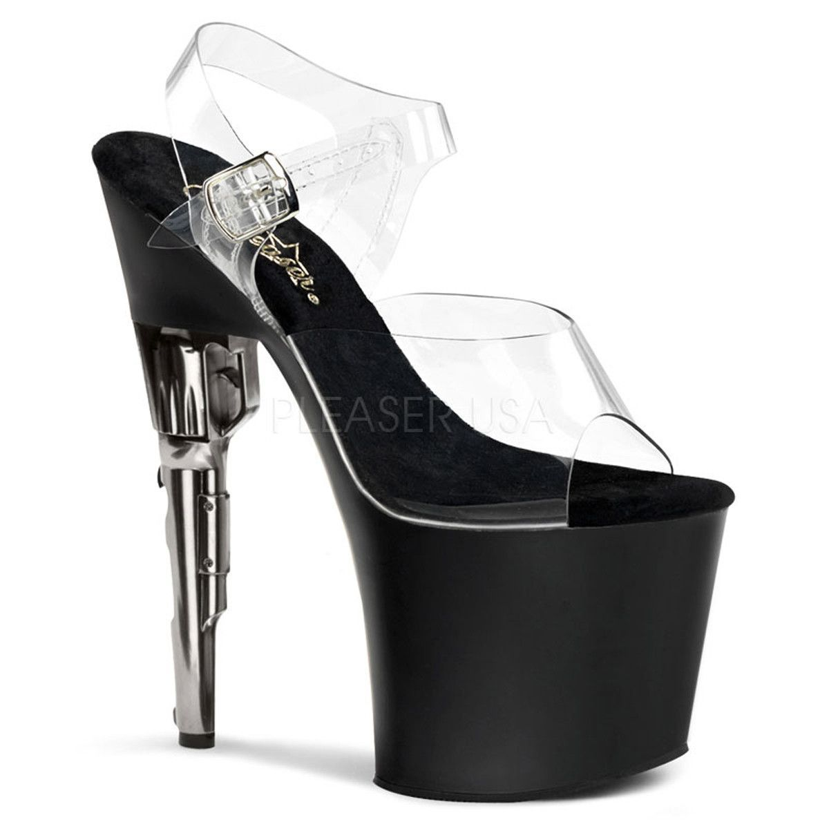 PLEASER BONDGIRL708 ClearBlack Matte Ankle Strap Sandals
