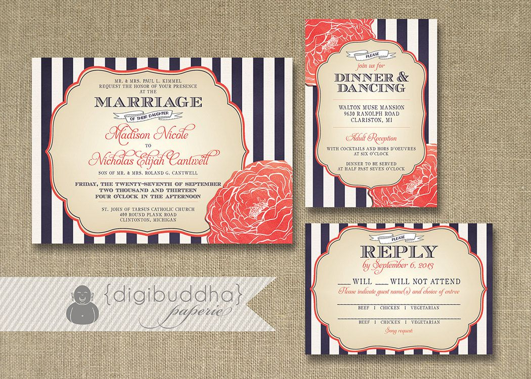 stripes bloom wedding invitation 3 piece suite reception response rsvp shabby chic navy coral diy digital or printed madison style - Coral And Navy Wedding Invitations
