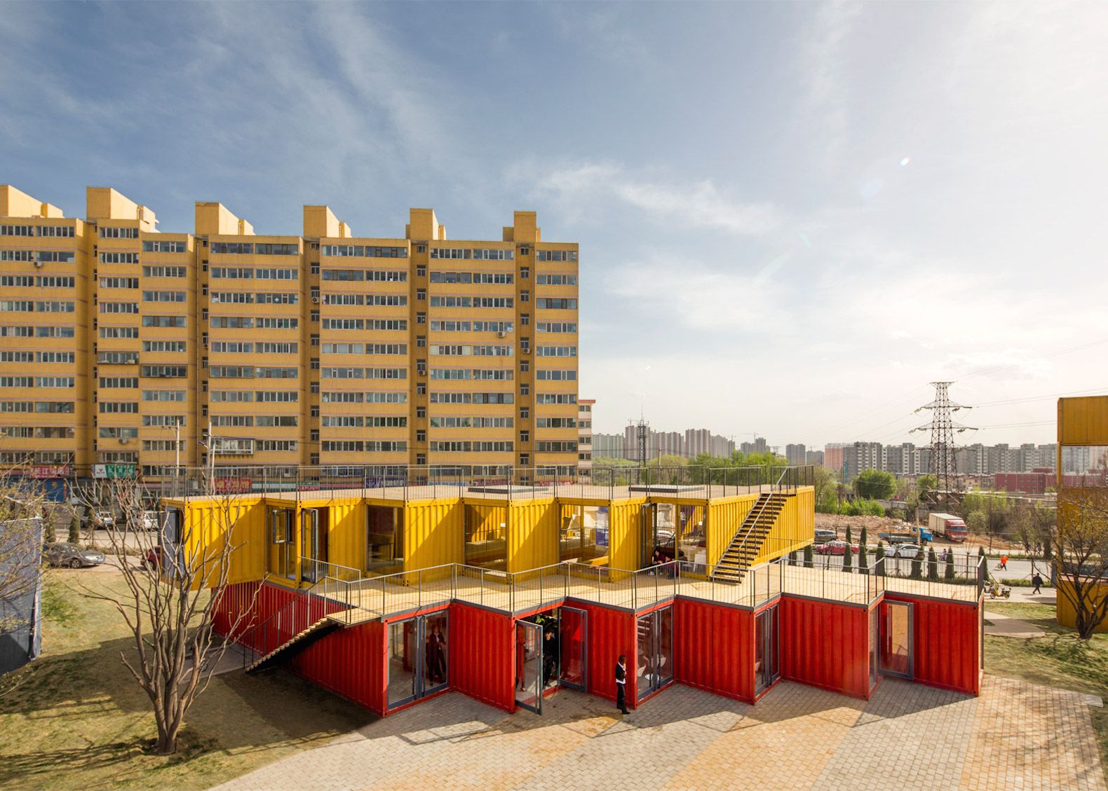 Shipping containers are transformed into a colorful office and showroom in China Container Stack Pavilion by People's Architecture Office – Inhabitat - Green Design, Innovation, Architecture, Green Building