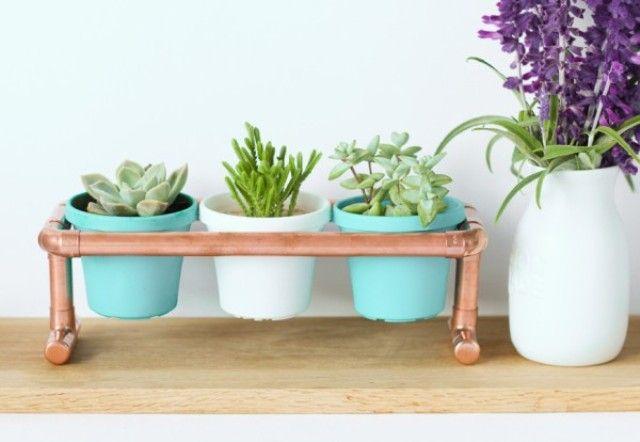 Trendy DIY Copper Pipe Mini Pot Holder