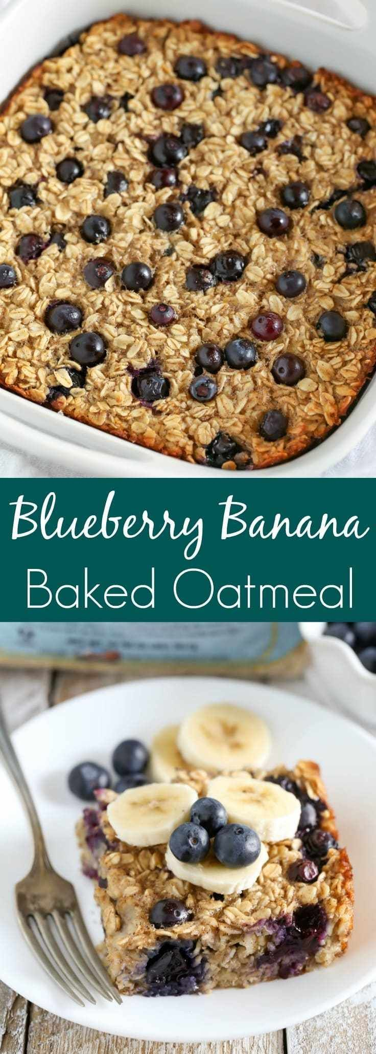 This Blueberry Banana Baked Oatmeal is easy to make and perfect for a quick, healthy breakfast or snack throughout the week! Blueberry Banana Baked Oatmeal is easy to make and perfect for a quick, healthy breakfast or snack throughout the week!