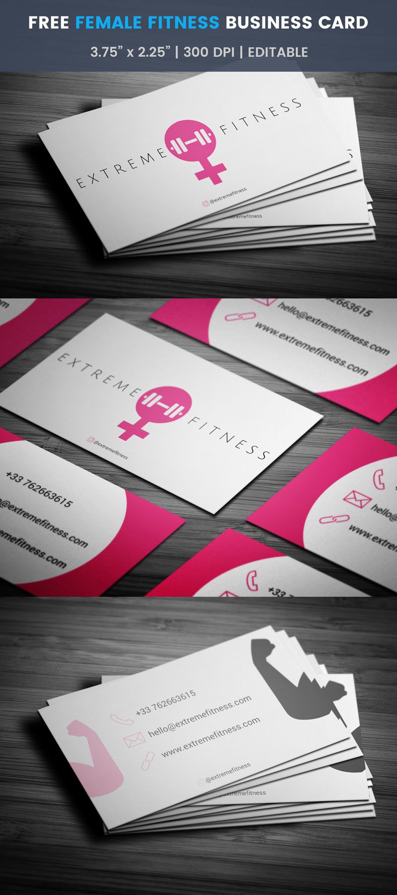 Female Fitness Business Card - Full Preview   Free Business Card ...