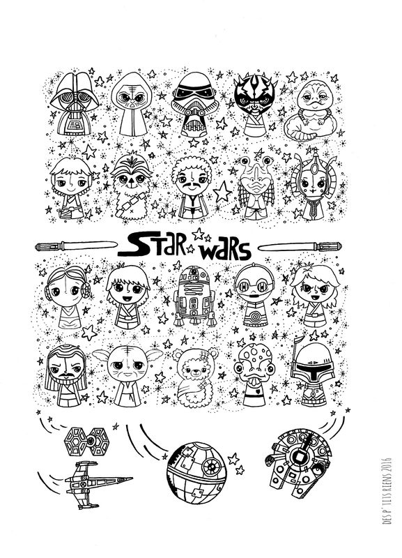 Affiche Black And White Star Wars Kawaii Coloring Pages