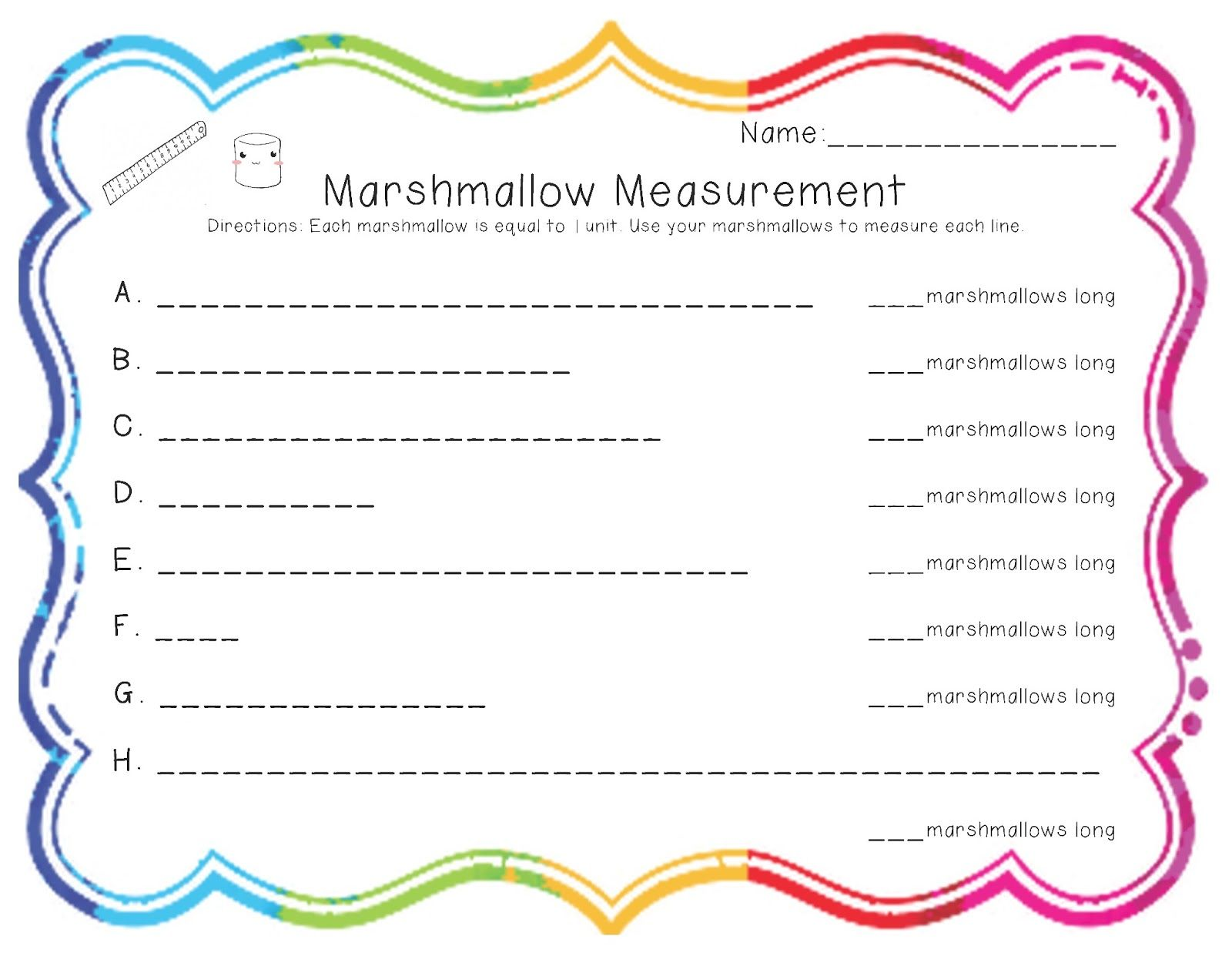 Measuring Length Worksheets First Grade