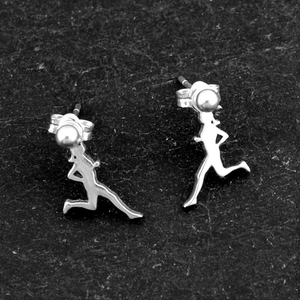 Sterling Silver Earrings Run Figure | Running Earrings | Running Jewelry | Sterling Silver Earrings for Runners