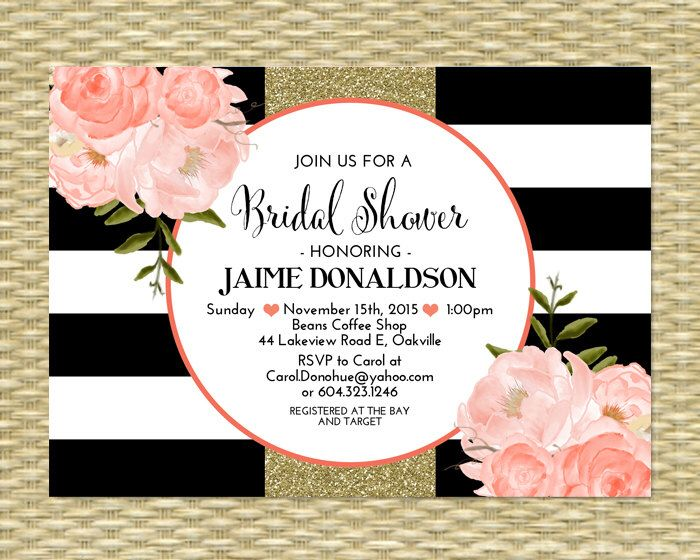 bridal shower invitation black white stripes floral coral gold, Birthday invitations