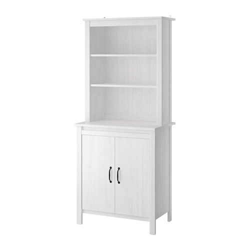 Ikea Brusali High Cabinet With Doors White Adjule Shelves So You Can Customize Your Storage As Needed