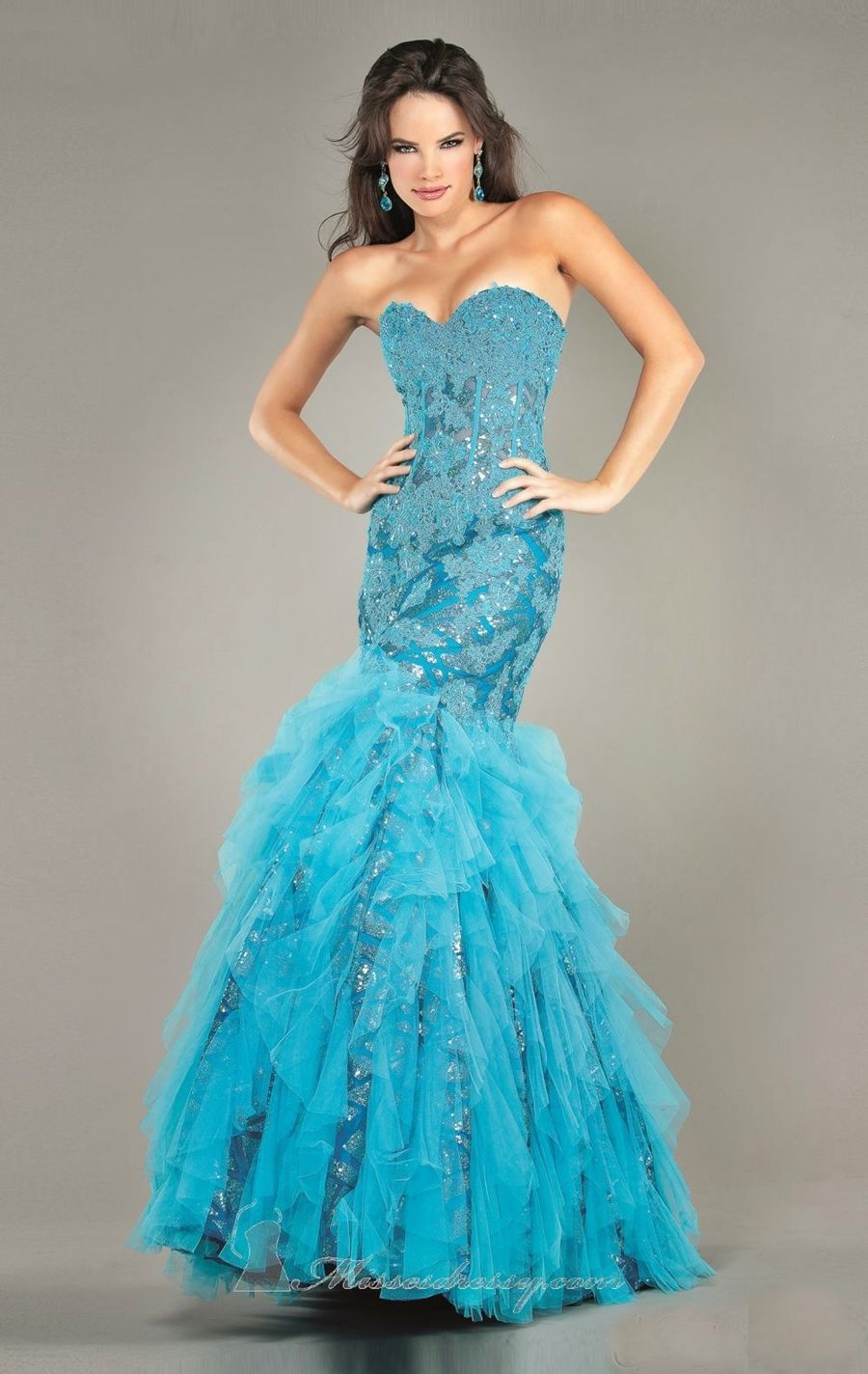 Sold jovani lace applique mermaid prom gown with corset back