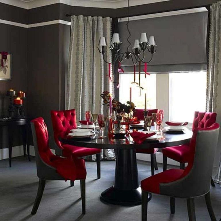 Grey Wall Color And Ont Tufted Red Chairs For Glamorous Dining Room Ideas With Black Round Table