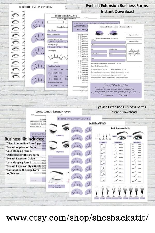 Eyelash Extension Forms, Client Information Form, Client