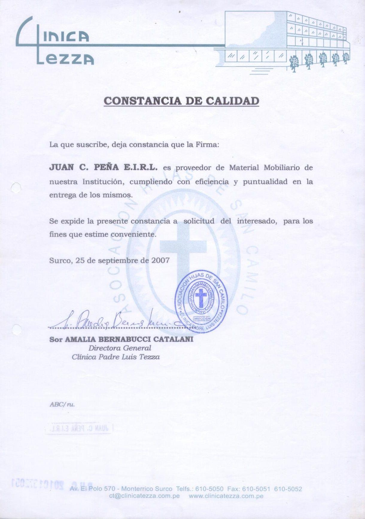 CLÍNICA TEZZA | CONSTANCIAS DE CALIDAD DE SERVICIO CLIENTES ...