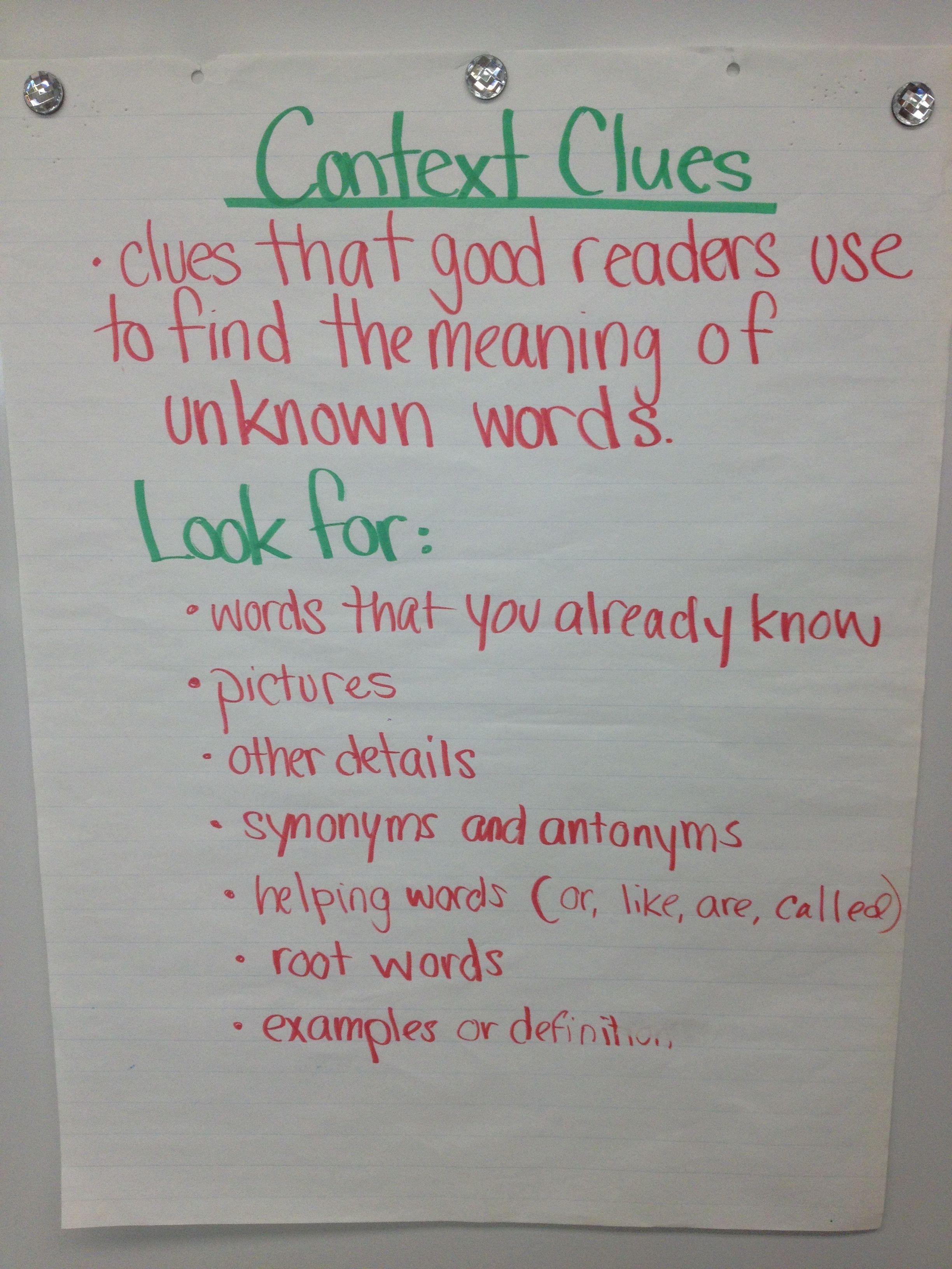 Worksheet Context Clues Grade 4