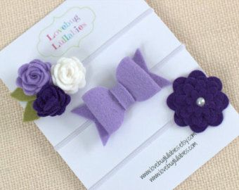 Purple Heart Headband & Lavender Bow Headband by LullabyBlossoms