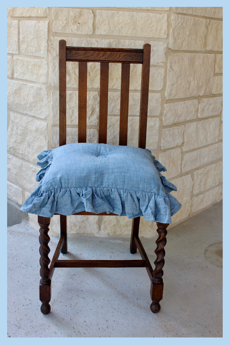 Cute blue chambray ruffle chair seat cover with ties. It's