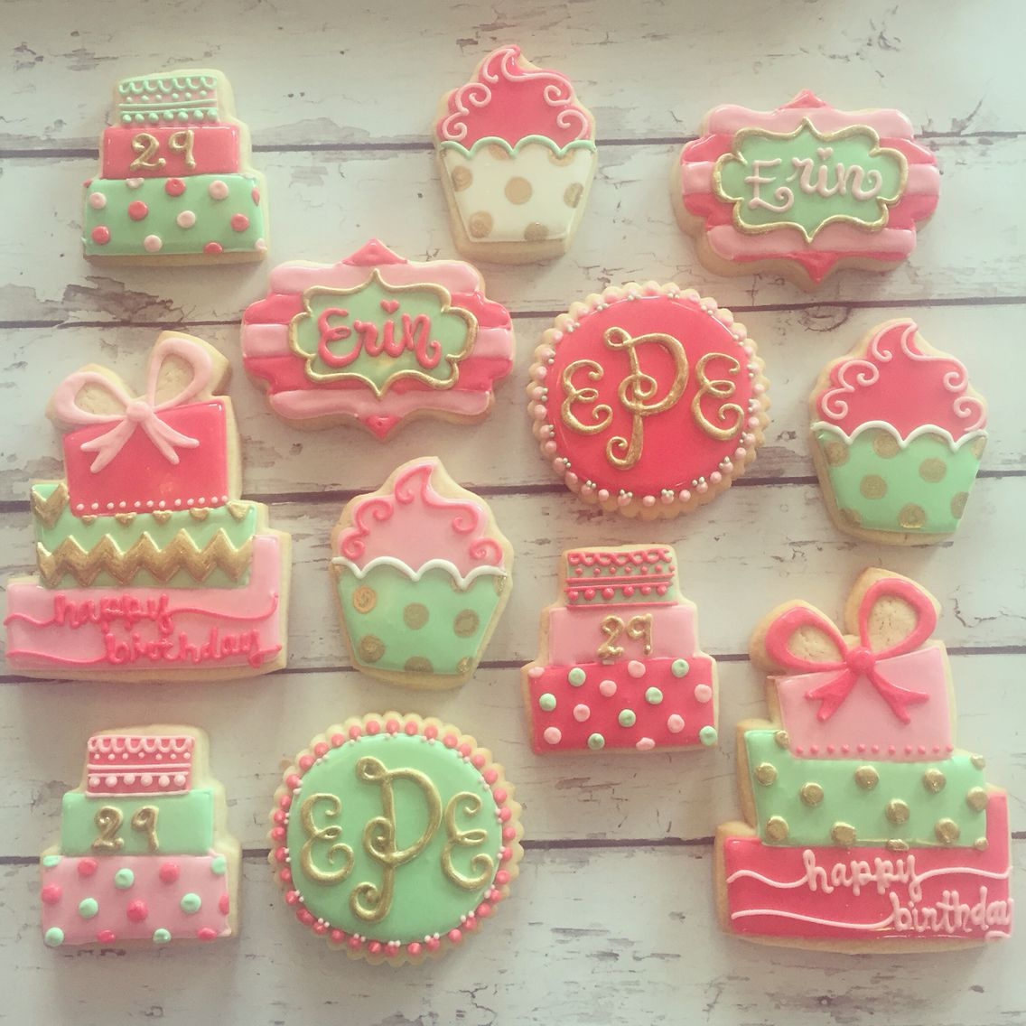 Pink, mint, and gold birthday cookies by Hayleycakes and