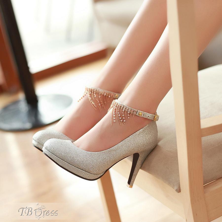 44792027b8a Silver Attractive Stiletto Heels Closed Toe Women Shoes