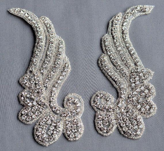 f92dabdadc 2 pcs Mirror Pair Rhinestone Applique Bridal by yourperfectgifts ...