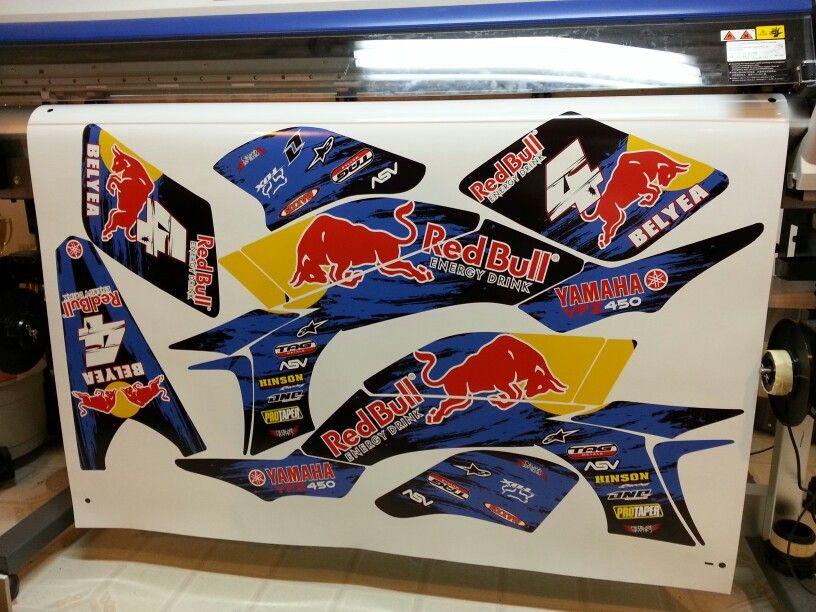 Yamaha YFZ 450 redbull atv graphics kit. By Fireblade Graphics.