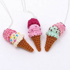 Double Scoop Ice Cream Cone Necklace (enna design) Tags: food fruits dessert miniature necklace strawberry colorful handmade crochet craft mini icecream amigurumi charms doublescoop icecreamcone ennadesign