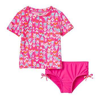2d68184941 Toddler Girl Carter's Heart Print Short Sleeve Rashguard & Bottoms Swimsuit  Set