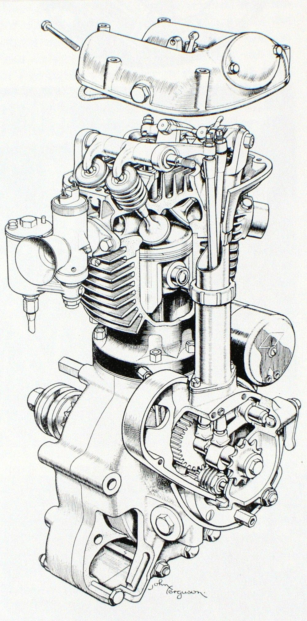 Vintage 1930's car motor diagram illustration super automobile engine industrial art perfect wall decor for home office or man cave men cave