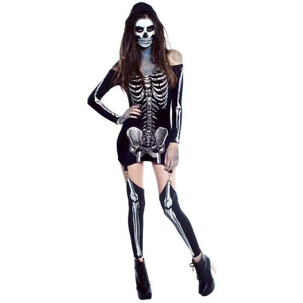 5170479df106d Womens X-Rayed Skeleton Dress Costume ( 49)   Liked On Polyvore Featuring Costumes  Sc 1 St Pinterest
